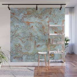 Marble in shades of blue and gold Wall Mural