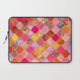 Hot Pink, Gold, Tangerine & Taupe Decorative Moroccan Tile Pattern Laptop Sleeve