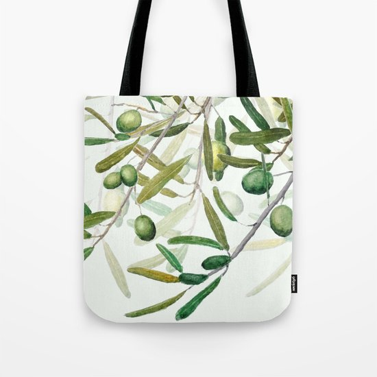 Green Olive watercolor painting Tote Bag