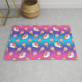 Cute happy pretty magical unicorns kittens, sweet adorable yummy colorful Kawaii rainbow ice cream popsicles cartoon summer bright white and blue summer pattern design Rug