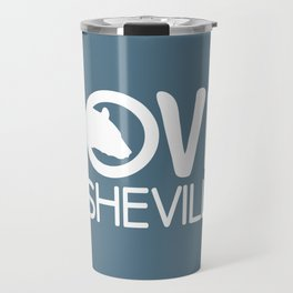 LOVE ASHEVILLE - AVL 13 WHITE ON BLUEGREY Travel Mug