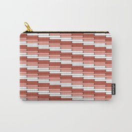 Staggered Oblong Rounded Lines Pantone Living Coral Illustration Carry-All Pouch