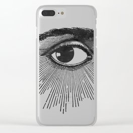 I See You. Black and White Clear iPhone Case