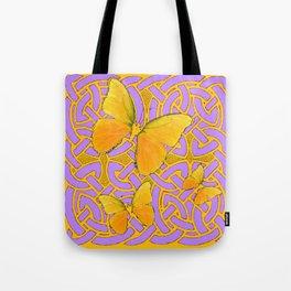 LILAC PURPLE YELLOW BUTTERFLIES CELTIC ART PATTERN Tote Bag