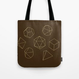 Outline of Dice in Gold + Brown Tote Bag