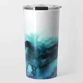 Abstract teal purple watercolor Travel Mug