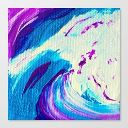 Abstract Acrylic Painting_Blue Purple & White Canvas Print