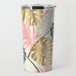Tropical Print with Gold Travel Mug