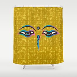 Eyes of God of India on Gold-leaf Screen Shower Curtain