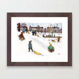 Sledding in Prospect Park Framed Art Print