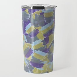 Violet,yellow,gray abstract flowers pattern Travel Mug