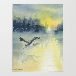 Flying Home - Great Blue Heron Poster