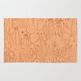 Cactus Scene in Orange Rug