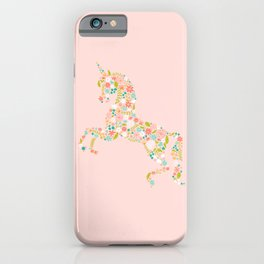 Floral Unicorn in Pink iPhone Case