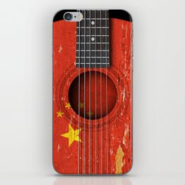 Old Vintage Acoustic Guitar with Chinese Flag iPhone Skin