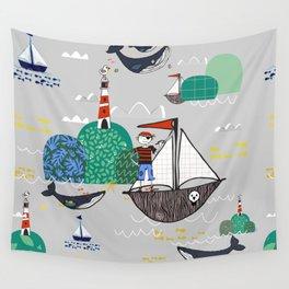 Pirates Ahoy Grey Wall Tapestry