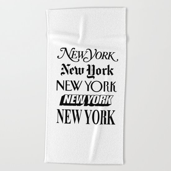 I Heart New York City Black and White New York Poster I Love NYC Design Beach Towel