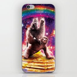 Space Cat Llama Sloth Riding Pancakes iPhone Skin