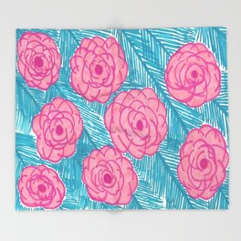 Tropical Palm Leaves and Roses Print Throw Blanket