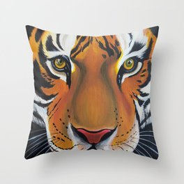 Tiger, acrylic on canvas Throw Pillow