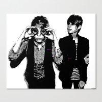 tegan and sara Canvas Prints featuring Tegan & Tegan & Sara & Sara - Black by c.beanan