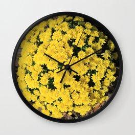 Bright Yellow Fall Mums Wall Clock