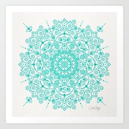 Moroccan Mandala – Turquoise Palette Art Print