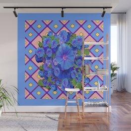 Blue Diamond Patterns Morning Glories Art Wall Mural