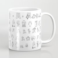 robots Mugs featuring robots by Aaron Cushley