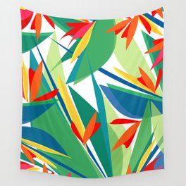 Tropical floral composition, exotic flowers, birds of paradise. Wall Tapestry