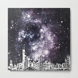 Black and White Comic Style City Skyline & Milky Way Metal Print