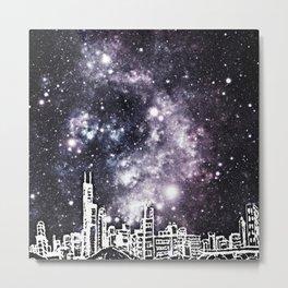 Black and White Comic Style City Skyline & Milky Way Metal Print