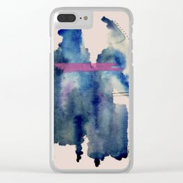 Pour: a blue and purple abstract watercolor Clear iPhone Case