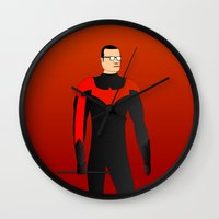 nightwing Wall Clocks featuring Nightwing by pablosiano