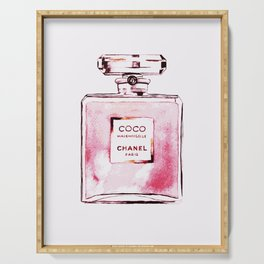 Classic Pink, Perfume bottle, Fashion Cute Minimalism Poster Serving Tray