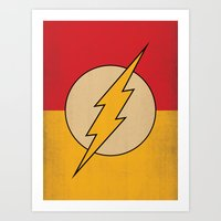 dc comics Art Prints featuring Flash Logo Minimalist Art Print DC Comics by The Retro Inc
