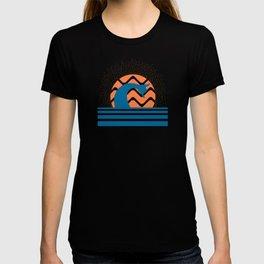 Hang Loose Wave // Sun Surfer Shaka Beach Retro Graphic Design Horizontal Daze Waves T-shirt