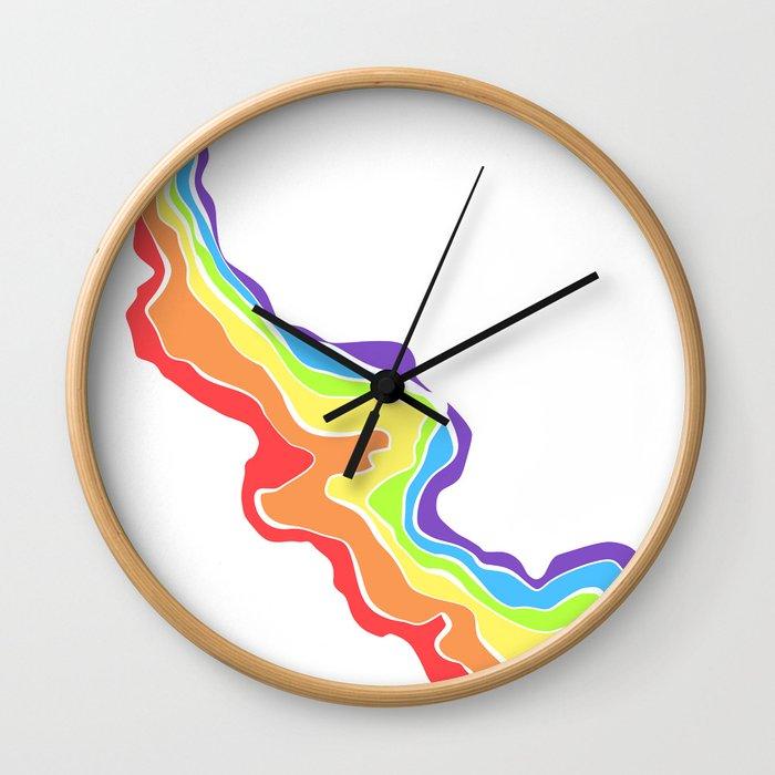 Rainbow Stripe 13 Wall Clock