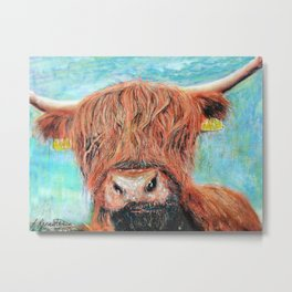 Lorna Coo, the highland cow Metal Print
