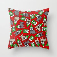 pugs Throw Pillows featuring Merry Pugs by robyriker