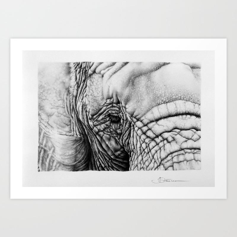 Elephant pencil drawing art print