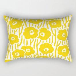Mid Century Modern Wild Flowers Yellow Rectangular Pillow
