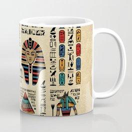 Egyptian hieroglyphs and deities on papyrus Coffee Mug