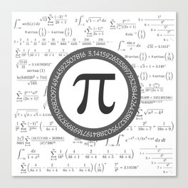 The Pi symbol mathematical constant irrational number, greek letter, and many formulas background Canvas Print