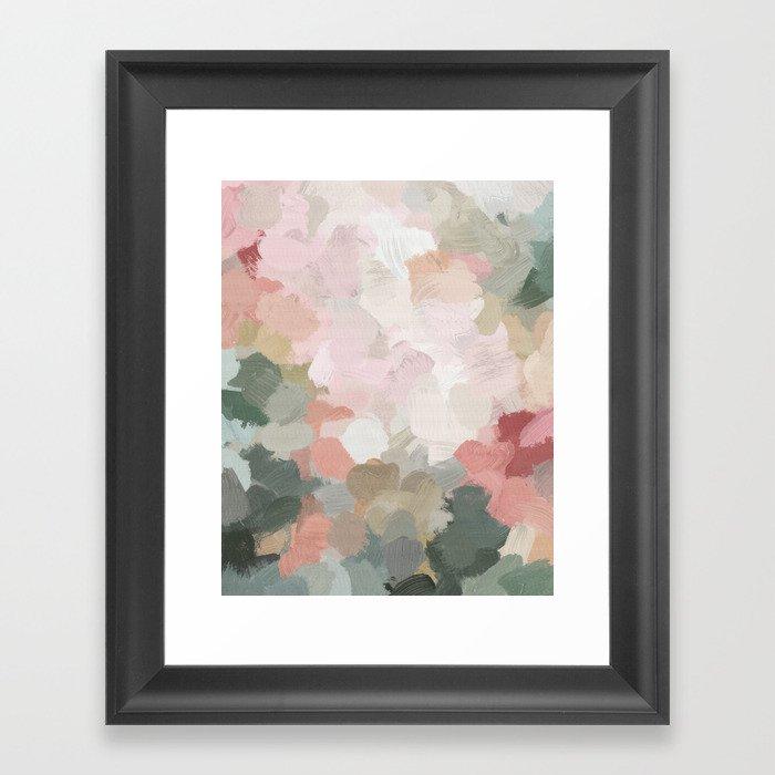 Forest Green Fuchsia Blush Pink Abstract Flower Spring Painting Art Gerahmter Kunstdruck