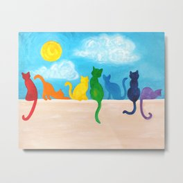 Catch A Rainbow - Cats on a Wall Metal Print