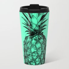 Pineapple! Black on mint green Travel Mug