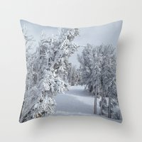 snow Throw Pillows featuring Snow by Chris Root