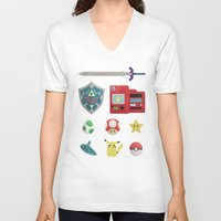 video games V-neck T-shirts featuring video games by Black