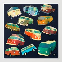 volkswagon Canvas Prints featuring Kombi Heaven by Buster Fidez